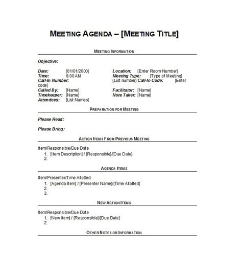 time agenda template word 51 effective meeting agenda templates free template