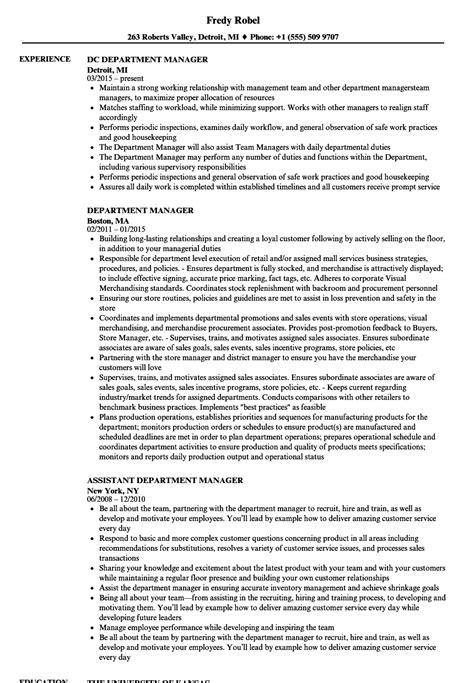 department supervisor resume templatedosecom