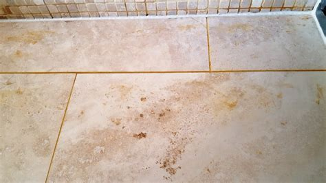 travertine room with leakage problem restored in