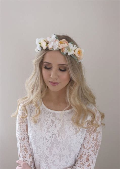 blush flower crown bridal floral halo babys breath