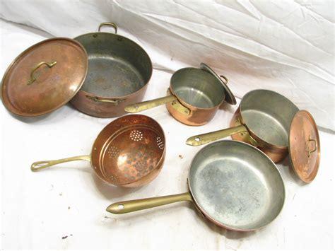 set vintage tagus copper cookware pots sauce pan lidded strainer sieve portugal