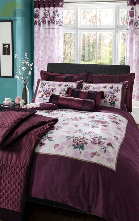 purple plum duvet cover bedding bed set or curtains or