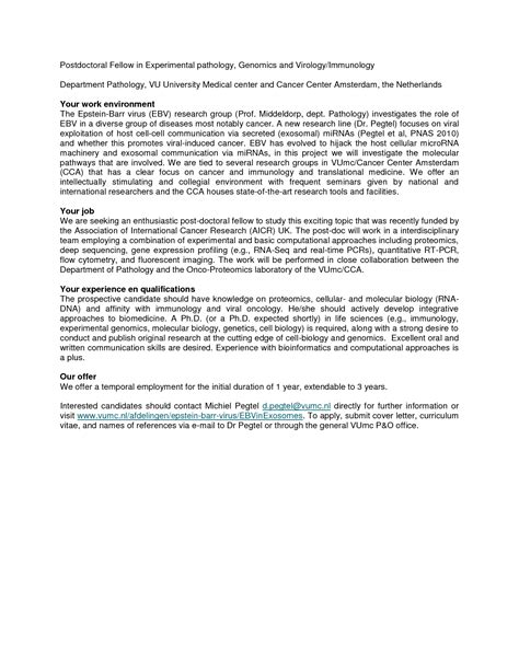 Postdoc Cover Letter Sle Biology by Postdoc Cover Letter Exle How To Write A Great
