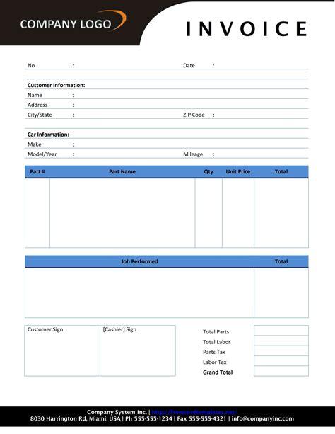 service invoice template free auto repair invoice template