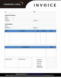 Auto repair invoice template for Mechanic invoice template word