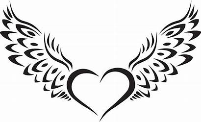 Wings Heart Silhouette Tribal Tattoo Clipart Hearts