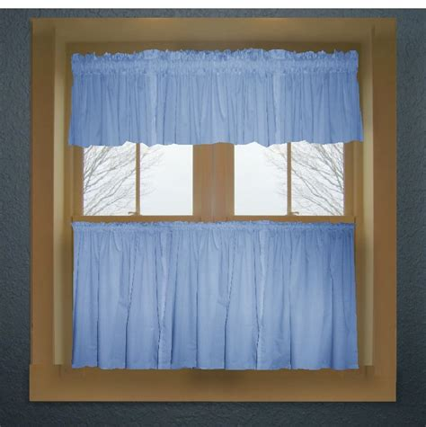 Blue Kitchen Valance by Caribbean Blue Color Tier Kitchen Curtain Two Panel Set