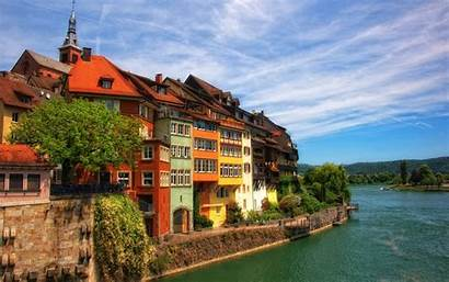 Background Houses Wallpapers Buildings Lake Wall