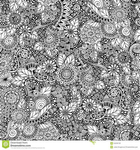 naadloze bloemen retro zwart witte krabbel vector illustratie illustratie bestaande uit af