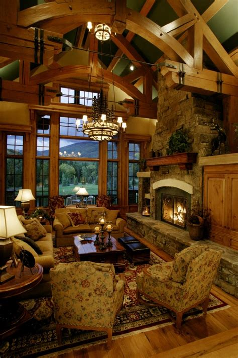 warm rustic family room designs winter