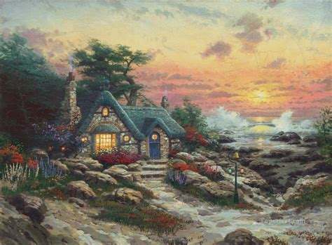 Cottage Paintings By Kinkade by Cottage By The Sea Kinkade Painting In For Sale