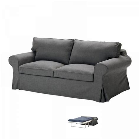 ikea ektorp sofa bed slipcover sofabed cover svanby gray grey linen blend - Ektorp Sleeper Sofa