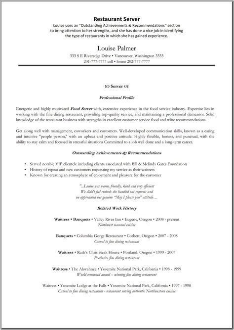 sle resume for restaurant server 28 images restaurant