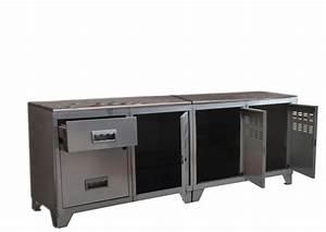 Meuble Tv Industriel Bois Metal : meuble tv bois m tal industriel alu ~ Teatrodelosmanantiales.com Idées de Décoration
