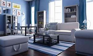 apply the blue color for a cool living room interior With blue and white living room decorating ideas