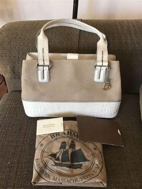 brahmin tan woven shoulder purse handbag white croc leather trim bottom handles brahmin