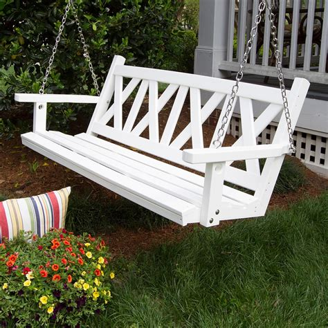 Wooden Porch Swings by Porchgate Amish Made 5ft Plastic Wood White Porch Swing