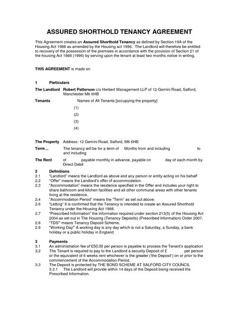 Letting Agreement Template Free by Assured Shorthold Tenancy Agreement Template Word Doc