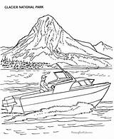 Coloring Boat Glacier National Boats Parks Printable Power Sheets Lake Mountain Motor Transport Printables Speed Adult Homework Colouring Clipart Worksheets sketch template