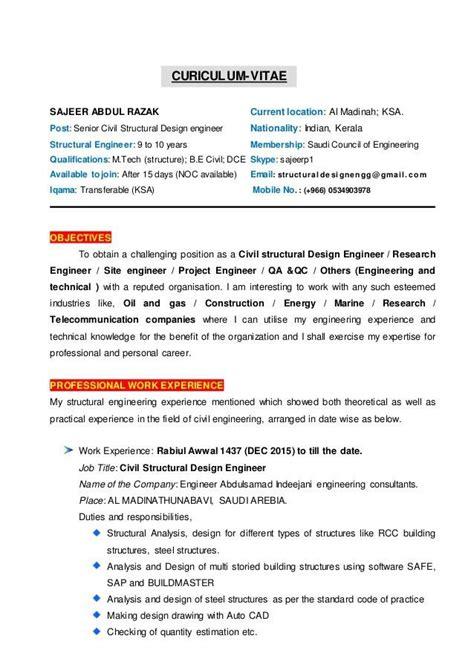 structural engineer resume sample cv  civil structural