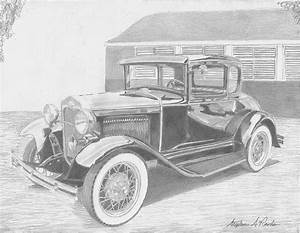 1931 Ford A Model Coupe Classic Car Art Print Drawing By