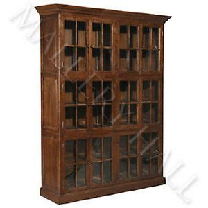 Oak Bookcases With Glass Doors by Solid Oak Wood Office 12 Door Glass Bookcase Cabinet Ebay