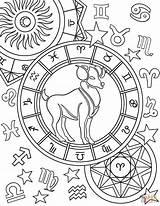 Zodiac Aries Coloring Pages Sign Signs Printable Star Astrology Capricorn Adult Supercoloring Colors Mandala Gemini Stars Crafts Select Category Bible sketch template