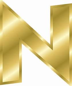Letter n capital letter alphabet abc gold public for Gold letter n