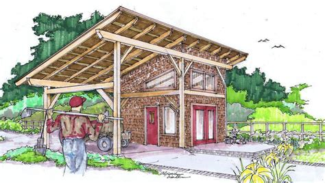 Comfortable living can be found in this barn roof style cabin. 14x30 Timber Frame Shed Barn
