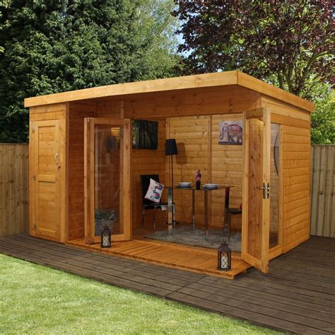 Mercia Garden Products 12 X 8 Ft Summer House With Side