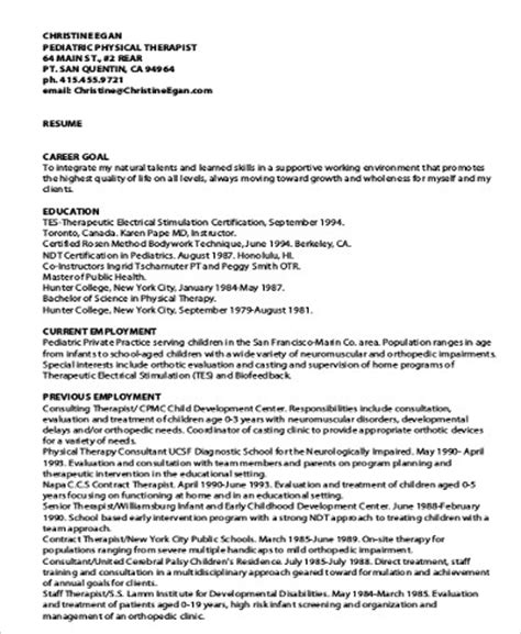 Exle Resumes For Pediatric by Sle Physical Therapist Resume 8 Exles In Word Pdf