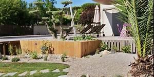 amenagement d39un jardin paysager avec piscine avignon With charming amenagement petit jardin avec terrasse 4 creation et amenagement de terrasse en bois paysagiste