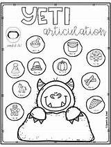 Yeti Articulation Speech Therapy Winter Sweet Worksheets Subject Printables sketch template