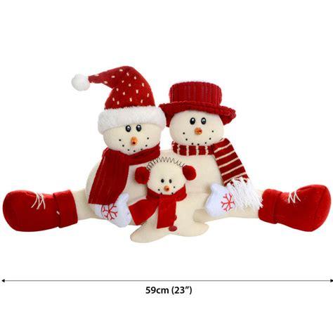 59cm beautiful festive fabric snowman family christmas