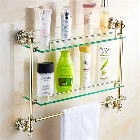 gold crystal bathroom shower glass shelf bath shower shelf