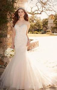 fit and flare wedding dress with tulle skirt essense of With what to wear to a wedding dress fitting