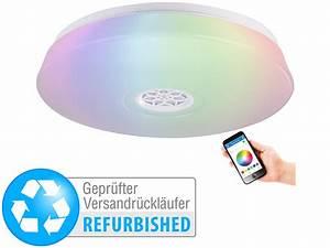 Deckenlampe Mit Lautsprecher : luminea deckenlampe bluetooth rgbw led deckenleuchte wecker lautsprecher app ~ Eleganceandgraceweddings.com Haus und Dekorationen