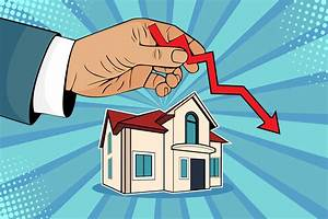 Falling Down House Prices  Man Is Holding Green Arrow Up