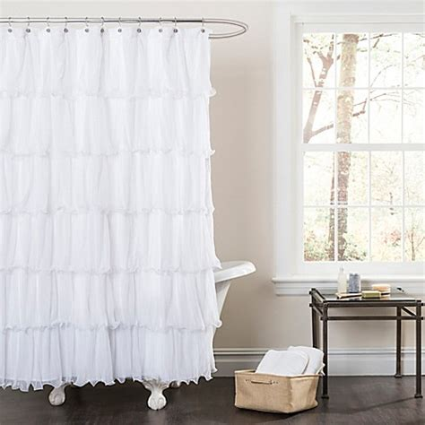 sheer shower curtain white buy nerina sheer ruffle shower curtain in white from bed bath beyond