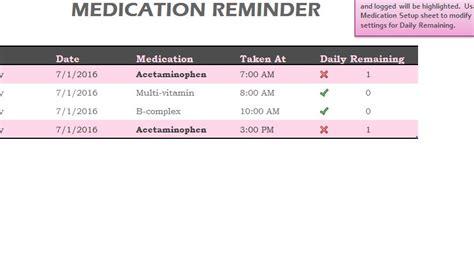medication reminder sheet  excel templates