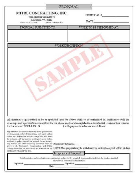 printable blank bid proposal forms  job proposal