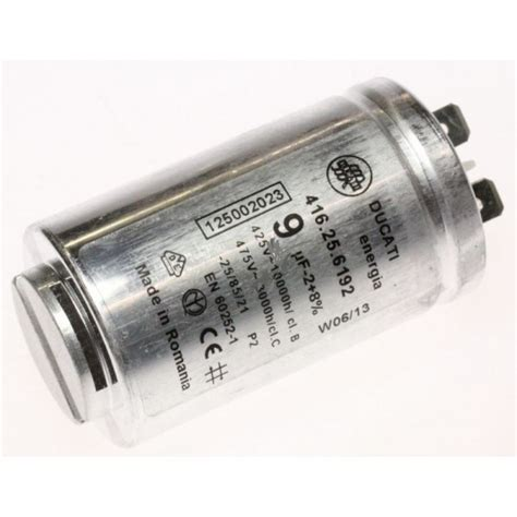 9 0uf condensateur 9mf ducati 5021551 pour seche linge electrolux