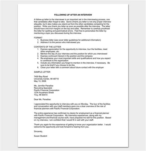 follow  letter letter  interview sample