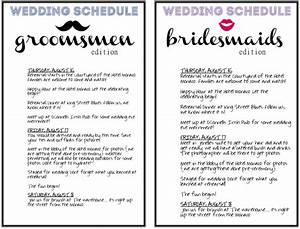 4 best images of wedding day agenda printable wedding With wedding party schedule template