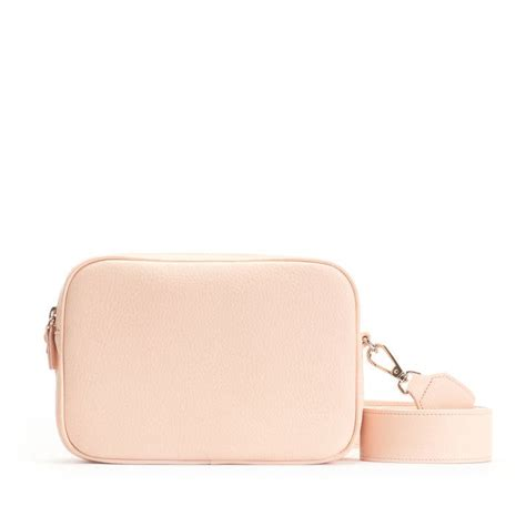 meadow double zip camera bag full grain leather rose pink