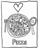 Pizza Coloring Pages Printable Sheet Candy Valentine Delicious Heart Popular Foods Getcolorings Bestcoloringpagesforkids sketch template
