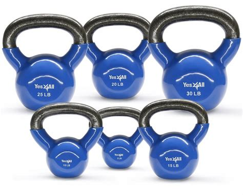 kettlebell coated vinyl equipment exercise yes4all kettlebells weight weights iron cast lbs sets workout fitness walmart body exercises handle combo