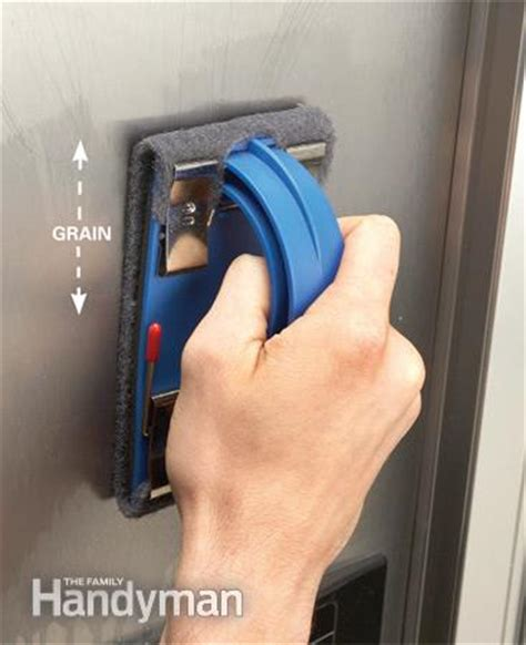 how to remove scratches from brushed stainless steel sink sanding stainless steel appliances the family handyman