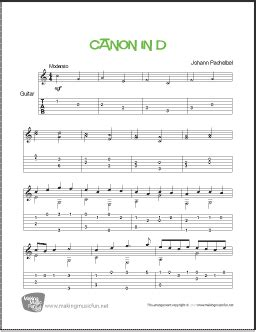 Arranged for classical or fingerstyle guitar. Canon in D (Pachelbel)   Easy Guitar Sheet Music (Tab)