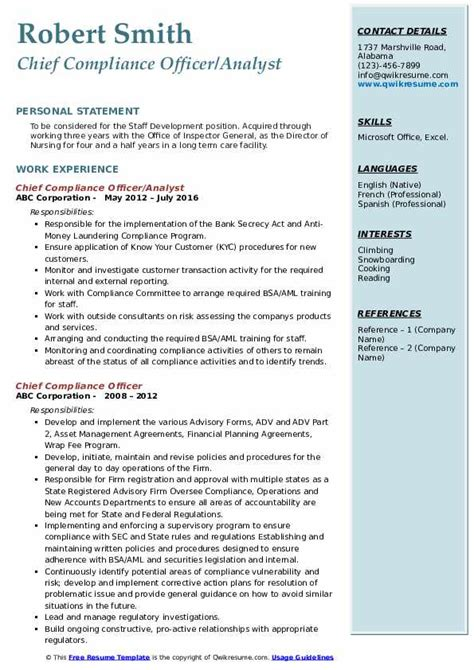 chief compliance officer resume samples qwikresume